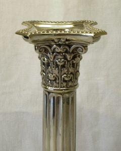 Victorian pair silver plated Corinthian candlesticks