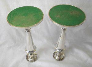 Pair silver plated candlesticks, Georgian circa 1820, Matthew Boulton style, old Sheffield plate