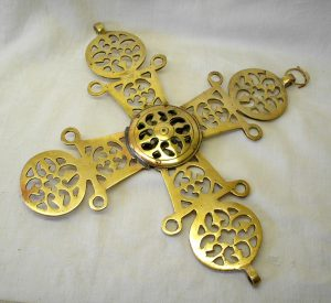 "Vintage brass Ethiopian Processional Cross - 13"" Coptic cross"