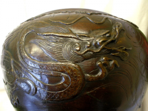 Antique Chinese Bronze jardiniere with pearl dragon