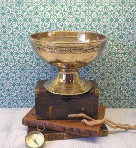 Vintage Tibetan singing bowl - pedestal brass bowl - footed Tibetan bowl - bonbon dish - fruit bowl - serving dish - oriental engraved bowl