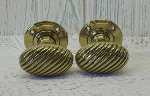 Georgian brass door handles, pair solid brass door knobs
