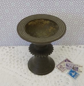 Antique bronze Tibetan butter lamp - 18th / 19th century Buddhist temple oil lamp - Nepalese yak butter lamp - Indian Dipa, ghee Deepa