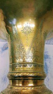 Antique brass vase, large wide mouth vase, Java Indonesian spittoon