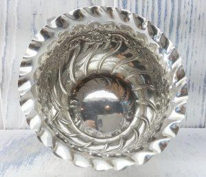 Antique silver plated sugar bowl by James Dixon & Sons, Baroque style repoussé sugar bowl