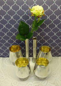 Vintage Mappin & Webb silver plated and gilt goblets, bud vase set by Gerald Benney in the BARK style. Modernist, Scandi style wine goblets