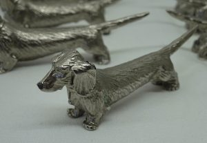 Vintage Dachshund knife rests, set of eight silver or chrome plated sausage dog cutlery rests, dining table decor, Weiner dog spoon rests