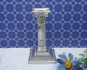 Edwardian solid silver candlestick by Williams Ltd, 1909. Sterling silver Corinthian candlestick, square base, fluted column, candle holder