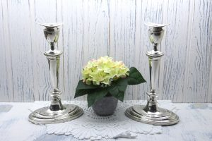 Victorian pair silver plated candlesticks, oval Adam style 19th century candlestick holders, silver plate candle holders. Georgian style.