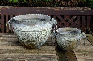 Vintage Indian brass jardinieres - pair. Two verdigris brass Indian planters, plant pots with ring handles, repoussé elephants, lions, dogs