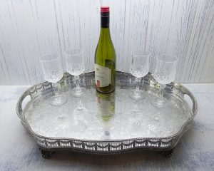 Vintage silver plated butler's tray, E.H Parkin & Co Ltd, large engraved galleried drinks tray, Adam style tray, Victorian style butler tray