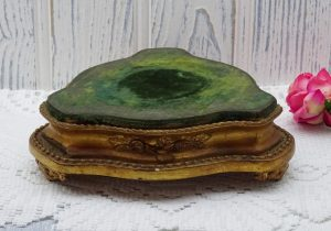 Antique French giltwood stand, with green velvet top. 3 sided 19th Century ornament or jardiniere stand, faded grandeur decor, French decor
