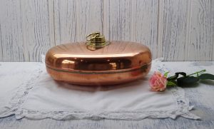 Antique copper bed warmer ~ Rein Kupfer copper hot water water bottle ~ cot warmer, foot warmer ~ vintage German pure copper oval bed warmer