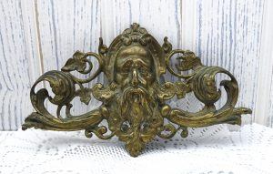 Antique gilt brass Zeus decoration / plaque. Possibly French 19th century gilded brass neoclassical god with acanthus and ivy leaves