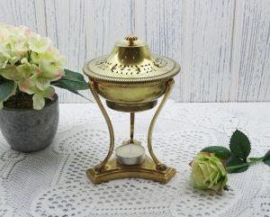 Art Deco Guerlain perfume burner, 1930's French brass perfumer, incense burner, Guerlain Paris France perfume, perfumery decor, oil burner