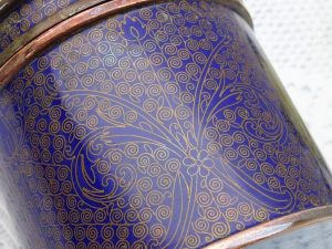 Antique blue cloisonné pot, enamelled copper humidor, trinket box, turquoise enamel interior, round lidded pot, Asian or oriental antique