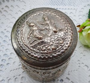 Antique silver plated Burmese betel nut box or tea caddy. Repoussé, hammered & engraved silver plate canister with lid, traditional figures