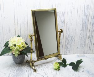 Vintage brass framed mirror, vanity swing mirror, dressing table mirror, 14 in tall. Rectangular mirror on stand