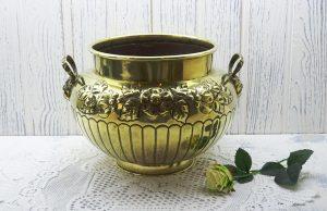 Victorian Soutterware brass jardinierre, William Soutter & Sons, Birmingham. Brass planter, plant pot holder, indoor gardening, gardenalia