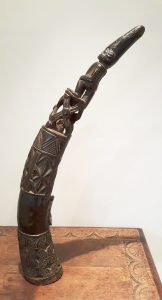 Antique African carved wood Oliphant, wooden hunting horn or trumpet, tribal antique from Africa, ethnic antiques, 25 inch carved wood horn