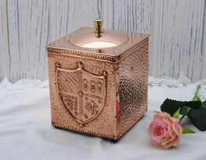 Arts and Crafts style copper tea caddy ~ vintage hammered copper tea caddy with shield crest, steel lined brass knob and nails, kitchenalia