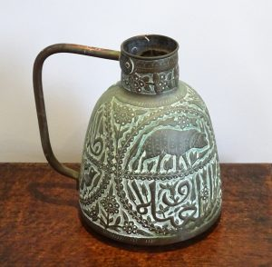 Antique Middle Eastern Arabic copper water jug, Cairoware, Mamluk, Arabian, Egyptian water pitcher, repoussé copper ewer. Vase, watering can