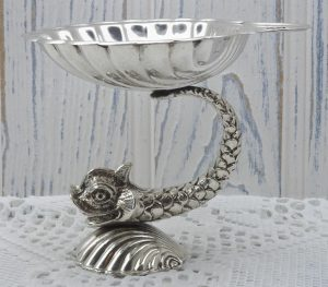 Vintage silver plated Maltese bonbon dish, shell with fish or dolphin, made by Cutajar Works, Malta. Silver plate pedestal bowl, soap dish