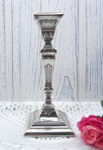Antique sterling silver single candlestick ~ Henry Moreton, Birmingham 1904, square Adam style solid silver candle holder, removable bobeche