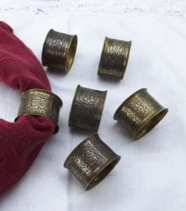 Antique Kinco enamelled brass napkin rings, set 6 vintage relief etched brass serviette rings, middle eastern Damascene style napkin holders