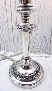 Pair of 19th century Old Sheffield Plate candlestick lamps, silver plated candlesticks re-purposed as electric lights