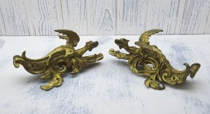 Antique pair of French gilt bronze ormolu dragon mounts, furniture adornments, 19th century decorative opposing dragons, Gothic style decor