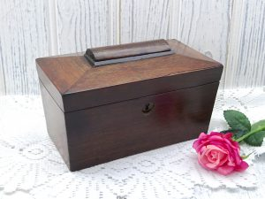 Georgian mahogany tea caddy ~ antique sarcophagus tea caddy ~ early 19th century caddy with two compartments ~ 1800's wooden tea storage box