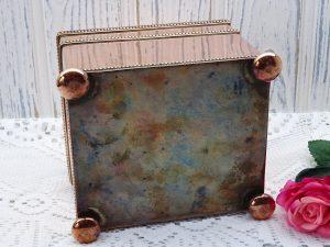 Antique copper tea caddy ~ 19th century tea caddy with hinged lid, bun feet, rectangular casket shaped copper box, Adam style knob, tea box
