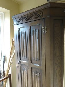 Vintage oak hall cupboard, shelf, 5 coat hooks, linenfold panels, canted corners, circa 1930's coat cupboard, hallway storage, wardrobe