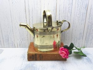 Antique brass watering can by John Marston, size 3, circa 1900. Victorian or Edwardian watering can, gardenalia, indoor gardening, water jug