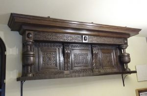 Antique oak overmantle ~ part of 17th century court cupboard, circa 1630-1650 with mid to late Victorian canopy. Ciel de lit, bed canopy
