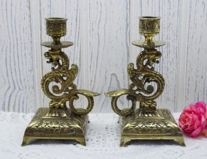 Vintage brass dragon chambersticks, pair of dragon candlesticks, mythical beasts, magickal decor, square plinth candle holders, cast brass
