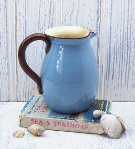 Vintage Babbacombe Pottery jug, seagull, Tintagel. Devon Blueware, Blue Devonware, Torquay mottoware, Cornwall souvenir, vase, milk jug