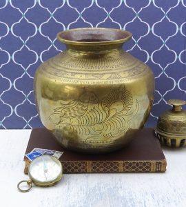 Antique Indian brass lota kalash, engraved parrot, 19th century Hindu pooja, puja water vessel, Ganga water vessel, Ganges water Chambu lota