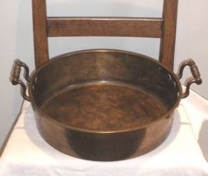 Victorian bronze preserve pan, two side handles. Heavy quality 19th century jam making pan, antique cookware, 19th century kitchenalia
