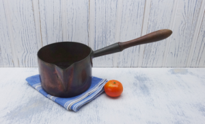 Victorian copper saucepan by Benham and Froud, antique copper pan with pouring spout, size 5 1/2, kitchenalia, kitchen decor, cooking pan