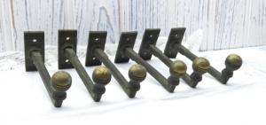 Art Deco brass coat hooks x 6. Vintage clothes pegs. 1930's coat hooks.