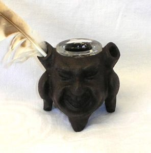 Antique iron inkwell, grotesque head on legs ink well, satyr, demon, Victorian gargoyle inkwell for dip pens, two pen holders, glass insert