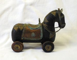 Antique wooden horse on wheels, Rajasthani wedding horse, Indian war horse model, ornament, toy. Marwari horse, brass tack, made in India
