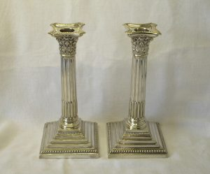 Victorian pair silver plated Corinthian candlesticks