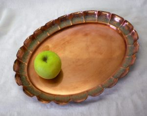 Arts & Crafts oval Neptune Ware copper tray by Joseph Sankey