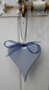 Rustic wood heart, ribbons for hanging, hand painted in sky blue. Seaside coastal beach hut decoration.