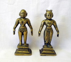 Antique Indian brass deities - pair of Hindu brass figures - Indian figurines - Hindu god and goddess - Hinduism