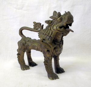 Antique Chinese brass Foo Dog - Fu Dog - Chinese Guardian Lion - protection symbol - Shi - Buddha Dog