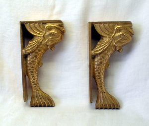 Vintage pair of Chinese bronze or brass carp fish bookends or corbels - decorative shelf supports
